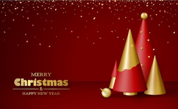 기쁜 성 탄과 새 해 복 많이 받으세요 인사말 카드 3d 현실적인 금색과 빨간색 크리스마스 트리