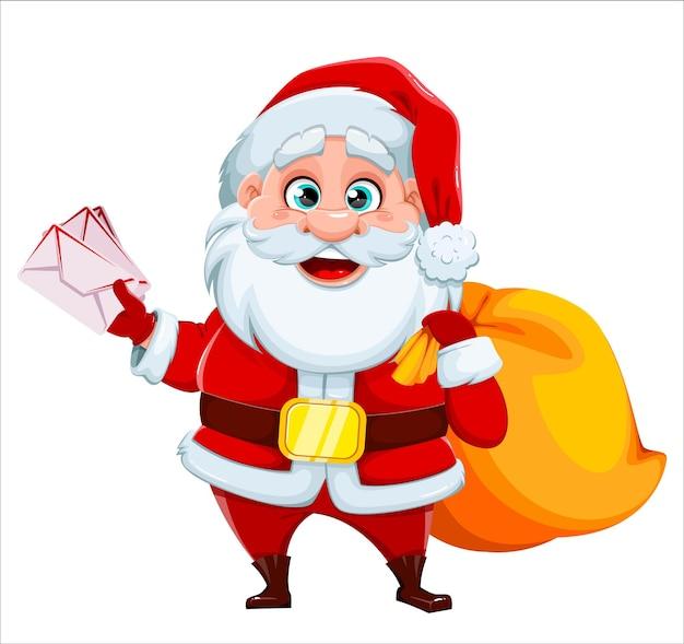 Поздравительная открытка с рождеством и новым годом. веселый санта-клаус держит буквы. векторная иллюстрация