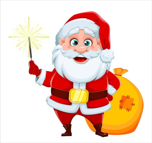 Поздравительная открытка с рождеством и новым годом. веселый санта-клаус держит волшебную палочку и мешок с подарками. векторная иллюстрация на белом фоне
