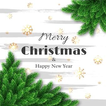 Поздравительная открытка с рождеством и новым годом, елочное украшение со снежинками. векторная иллюстрация.