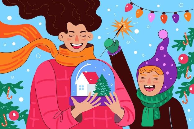 Открытка с новым годом и рождеством счастливые веселые мама и дочь или сын