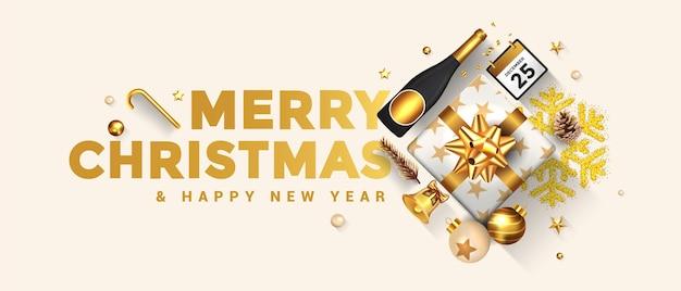 기쁜 성 탄과 새 해 복 많이 인사말 카드입니다. 휴일 디자인은 밝은 배경에 선물 상자, 금 공, 와인 병 및 스타로 장식합니다.