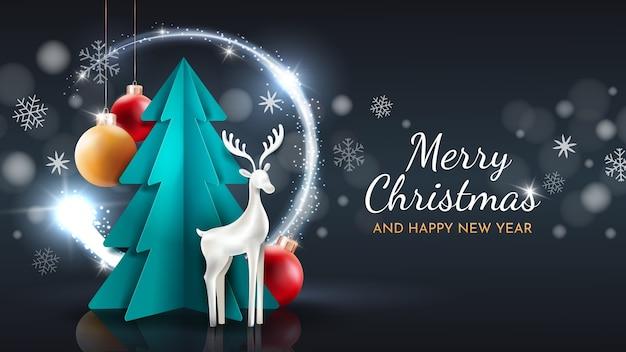 メリークリスマスと新年あけましておめでとうございますグリーティングカード。ペーパーカットのベクトルアート。