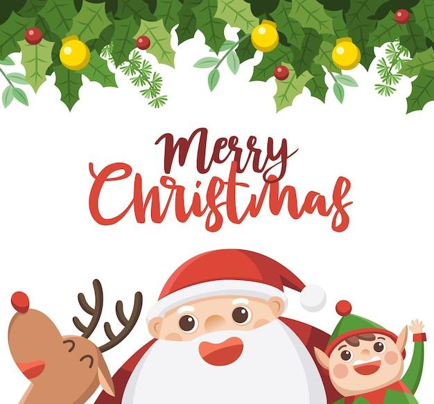 기쁜 성 탄과 새 해 복 많이 인사말 카드입니다. 엘프와 순록이있는 산타.