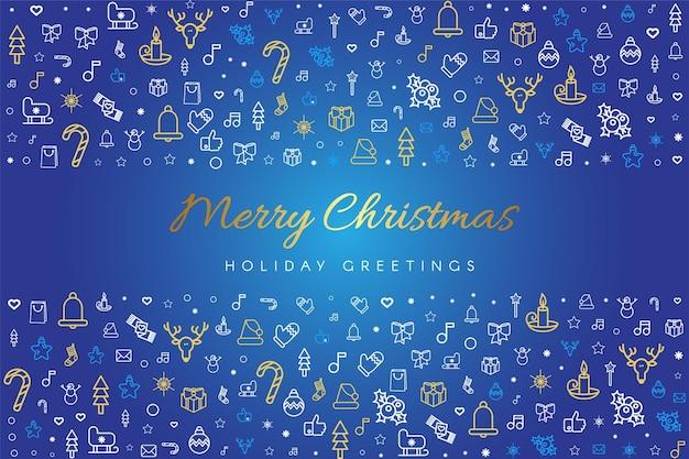 メリークリスマスと新年あけましておめでとうございますグリーティングカードベクトルテンプレート
