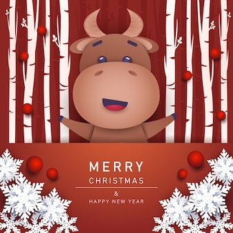 Поздравительная открытка с рождеством и новым годом с быком Premium векторы