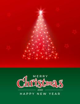 赤に輝く星のクリスマスツリーとメリークリスマスと新年あけましておめでとうございますグリーティングカード