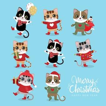 귀여운 고양이 함께 메리 크리스마스와 새 해 복 많이 인사말 카드