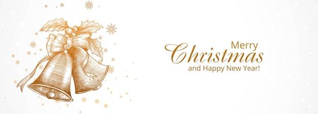 手描きのクリスマスの鐘のスケッチとメリークリスマスと新年あけましておめでとうございますグリーティングカード