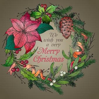 手描きの冬の植物とメリークリスマスと新年あけましておめでとうございますグリーティングカード。ヴィンテージイラスト。