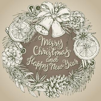 手描きの冬の植物とメリークリスマスと新年あけましておめでとうございますグリーティングカード