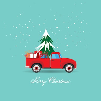 メリークリスマスと幸せな新年のグリーティングカードクリスマスツリーとギフトボックスの図とピックアップトラック。