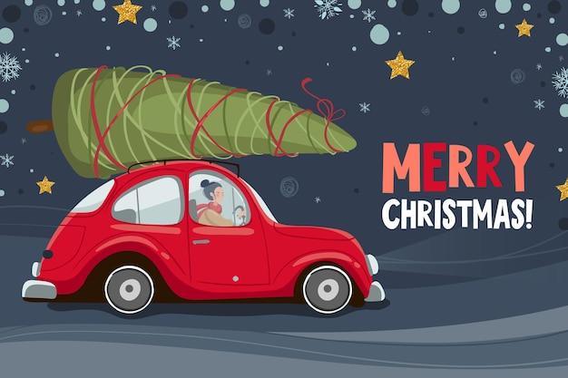 빨간 차와 크리스마스 트리 메리 크리스마스와 새 해 복 많이 인사말 카드. 엽서, 인사말 카드, 포스터 또는 초대장 템플릿입니다. 벡터 일러스트 레이 션 eps 10