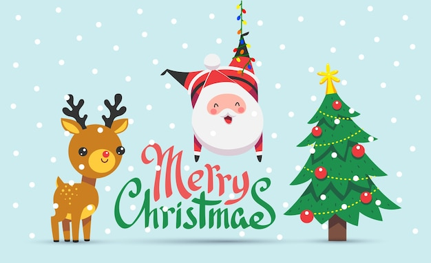 メリークリスマス、そしてハッピーニューイヤー。雪片と彼の友人と面白いサンタクロースのグリーティングカード。漫画のフラットスタイル。