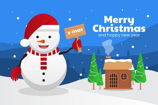 雪だるま屋外背景とメリークリスマスと新年あけましておめでとうございますグリーティングカード