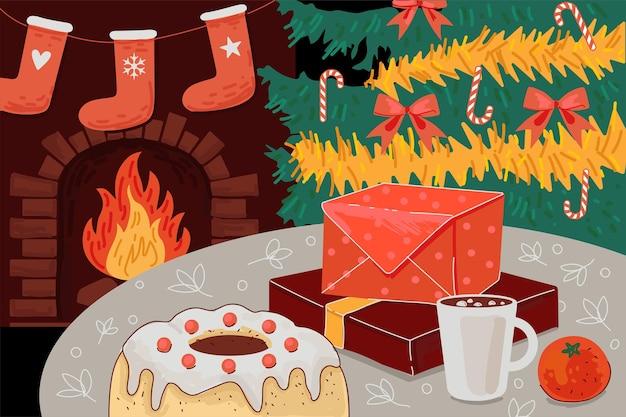 Поздравительная открытка с рождеством и новым годом рождественский уютный канун праздника комфортный домашний интерьер Premium векторы
