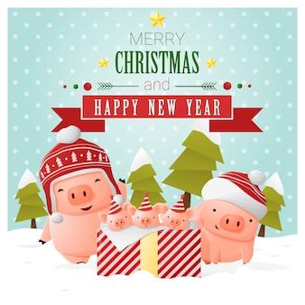 기쁜 성 탄과 새 해 복 많이 인사말 카드