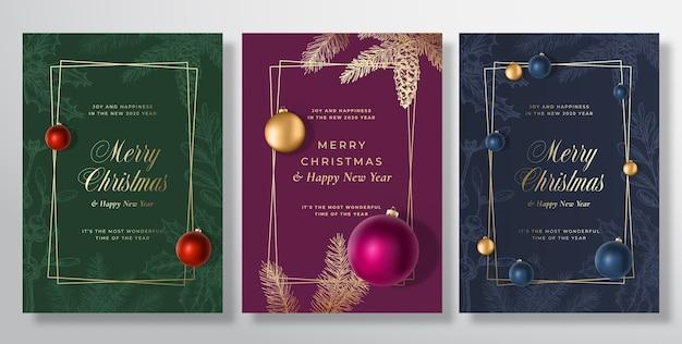 メリークリスマスと新年あけましておめでとうございますグリーティングカードテンプレート
