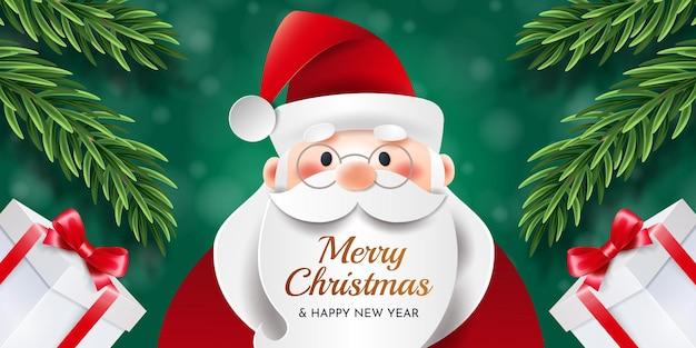 즐거운 성탄절 보내시고 새해 복 많이 받으세요. 산타 클로스, 크리스마스 나무 가지와 녹색 배경에 선물 인사말 크리스마스 카드.
