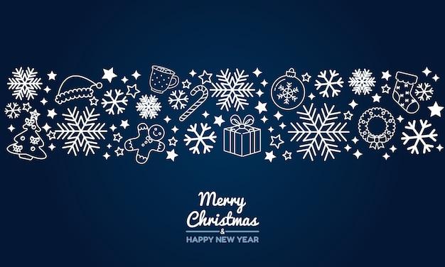 メリークリスマスと新年あけましておめでとうございますダークブルーの線画の背景を挨拶します。