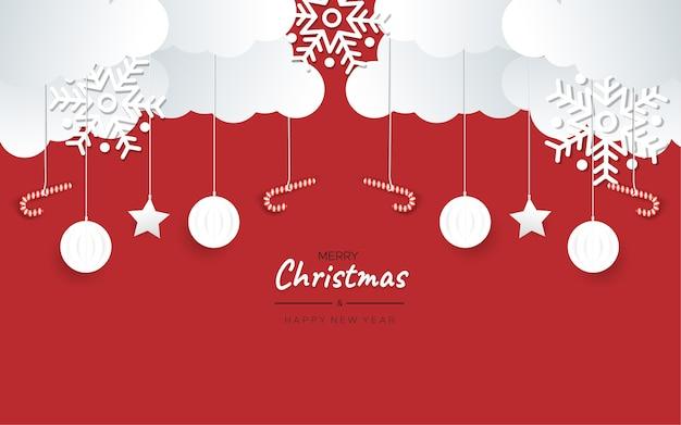 メリークリスマスと新年あけましておめでとうございますグリーティングペーパースタイル