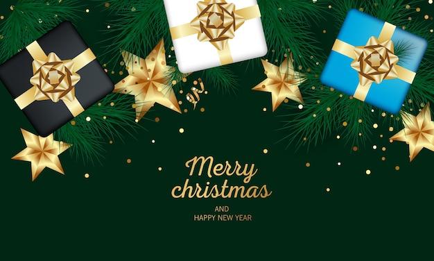 お祝いのクリスマスボールとギフトでメリークリスマスと新年あけましておめでとうございます。休日