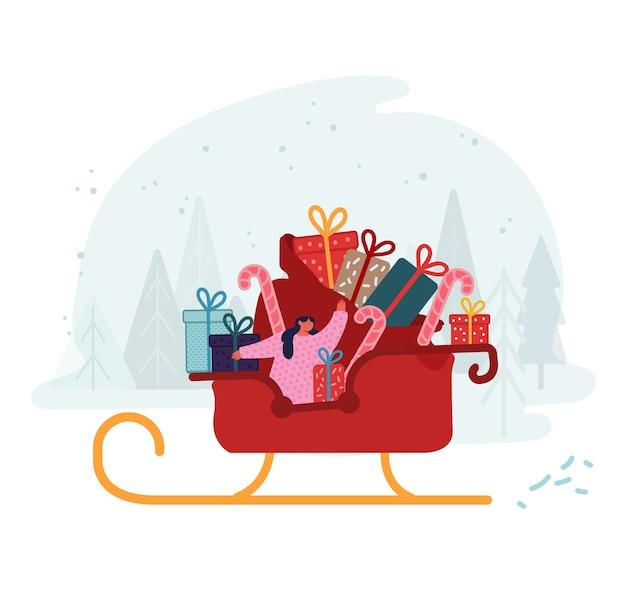 メリークリスマスと新年あけましておめでとうございます。手を振っている包まれたギフトボックスの完全な巨大な袋でトナカイそりに乗る女の子サンタクロースヘルパー。冬休み漫画フラット