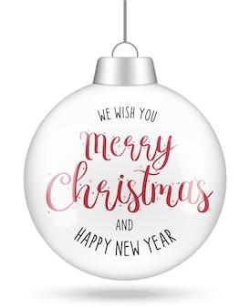 メリークリスマスと新年あけましておめでとうございます手描きレタリングカードのデザイン