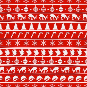 Merry Christmas and Happy New Year. Hand drawn seamless pattern.