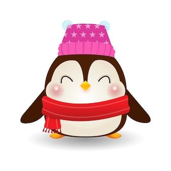メリークリスマスと新年あけましておめでとうございます、冬の帽子をかぶった幸せなペンギンサンタクロース