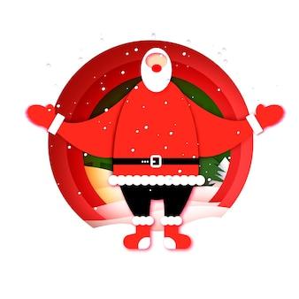 メリークリスマス、そしてハッピーニューイヤー。歓迎のジェスチャーで幸せなサンタクロース。フリーハグサンタ。サンタがハグしてきます。ペーパーカットスタイルの冬休み。赤。