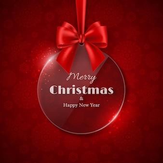 メリークリスマスと新年あけましておめでとうございますの休日のデザイン。弓、赤い背景、雪の結晶パターンと透明な光沢のあるクリスマス安物の宝石。ベクトルイラスト。