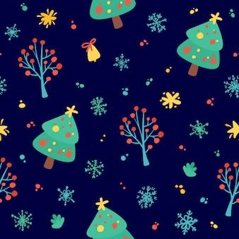 メリークリスマス、そしてハッピーニューイヤー。クリスマスツリー、雪片、星との休日のシームレスなパターン