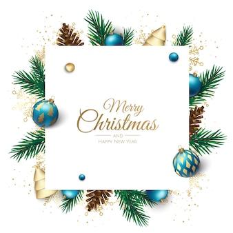メリークリスマスと新年あけましておめでとうございます白いバナーイラスト。