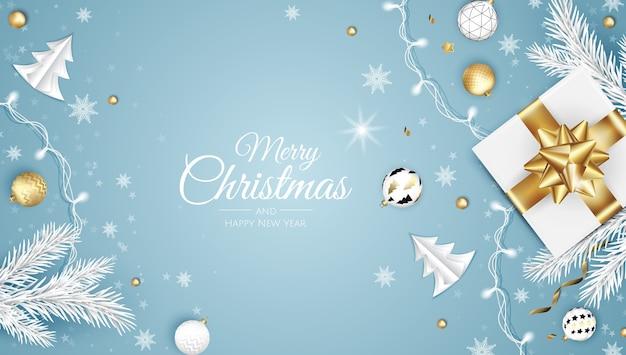 メリークリスマスと新年あけましておめでとうございますの白いバナーイラスト。