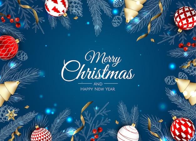 メリークリスマスと新年あけましておめでとうございます。 Premiumベクター