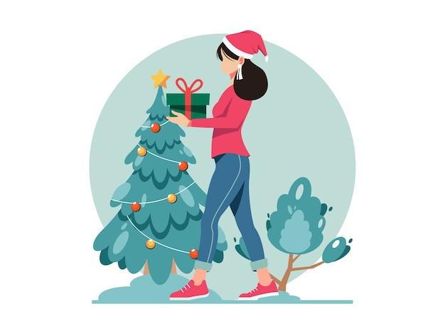 メリークリスマスと新年あけましておめでとうございますのイラスト。ギフトボックスを運ぶ女性。クリスマスプレゼント。
