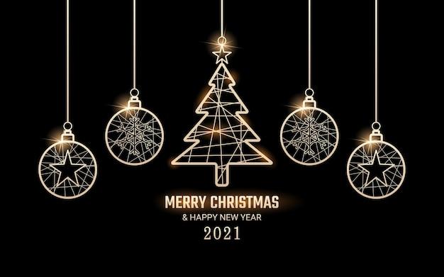 輝く金色のタグをぶら下げてメリークリスマスと新年あけましておめでとうございます