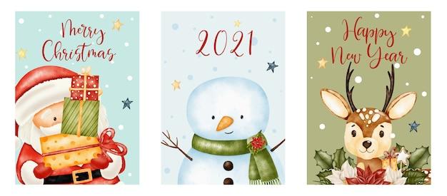 メリークリスマス、そしてかわいいサンタクロース、トナカイ、雪だるまと新年のレタリング