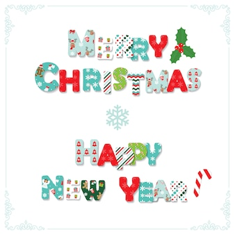 Merry Christmas and Happy new year letters.