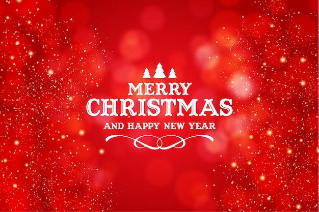 現実的なクリスマスの赤いボケ味の背景を持つメリークリスマスと新年あけましておめでとうございますのロゴ