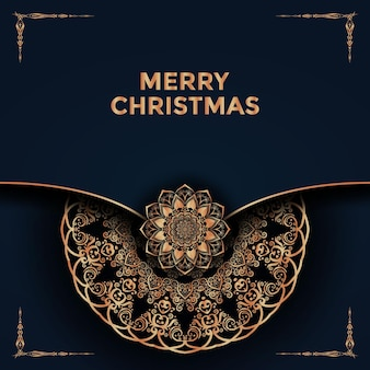 メリークリスマスと新年あけましておめでとうございます曼荼羅背景デザインプレミアムベクトル