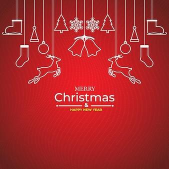 메리 크리스마스와 새 해 복 많이 받으세요 크리스마스 요소와 최소한의 평면 디자인