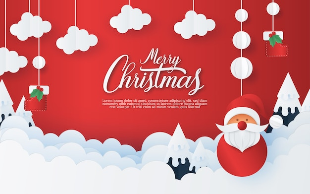 赤い背景にメリークリスマスと新年あけましておめでとうございます。創造的なペーパーアートとクラフトスタイル。