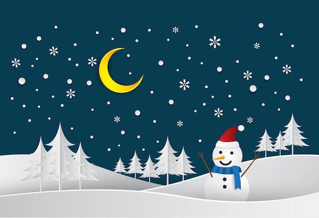メリークリスマスと新年あけましておめでとうございますペーパーアートとクラフトスタイル