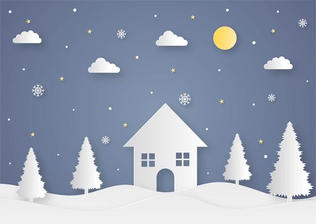 С рождеством и новым годом вырезанная из бумаги открытка на синем фоне