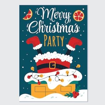 煙突カードチラシポスターでサンタクロースに挨拶するメリークリスマスと新年あけましておめでとうございますパーティー