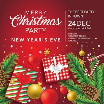 メリークリスマスと新年あけましておめでとうございますパーティーソーシャルメディアバナーデザイン
