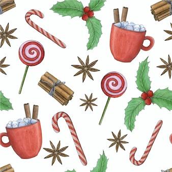 メリークリスマスと新年あけましておめでとうございますパターン水彩イラスト