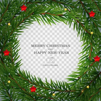 メリークリスマスと新年あけましておめでとうございますフォトフレームテンプレート。